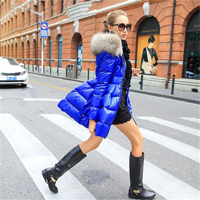 Down coat 2018 Doudoune femme New Luxury Fur Collar Womens down jacket Black/Red/Blue  Size S-XXL  Winter coat women 5