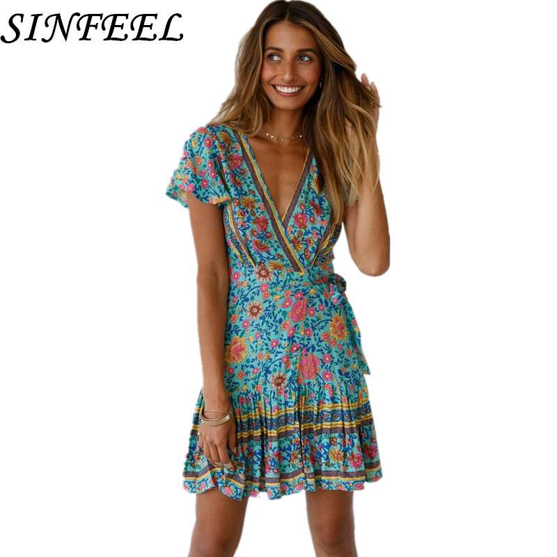 Women Boho Sexy V-Neck Short Sleeve Summer Dresses Bandage Bodycon Party Mini Dress Hot Sale Ladies Floral Printed Dress Vestido