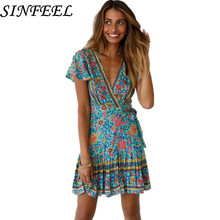 Women Boho Sexy V-neck Short Sleeve Summer Dresses Bandage Bodycon Party Mini Dress Hot Sale Ladies Floral Printed Dress Vestido стоимость