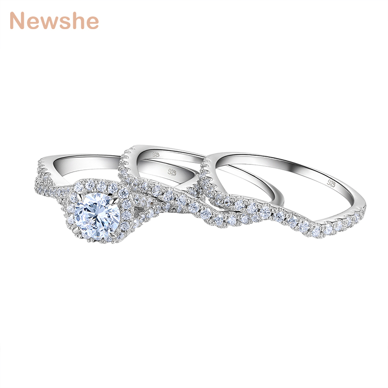 Newshe 1.3 Ct 3 Pcs Wedding Rings for Women Solid 925 Sterling Silver AAA CZ Blue Crystal Engagement Ring Set Trendy Jewelry trendy faux crystal embellished cuff ring for women