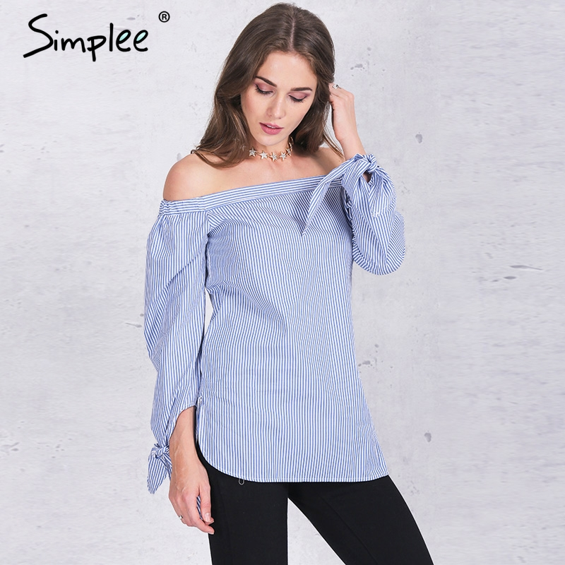 Simplee одежды Элегантный синий лук с плеча женщины блузка ...