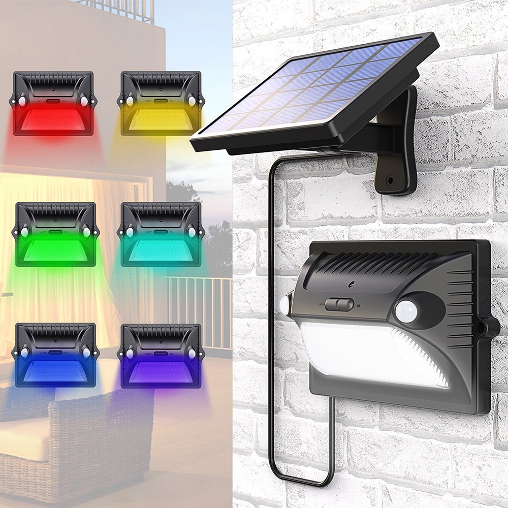 Solar Lights Outdoor Dual Motion Detector Sensing 5 Lighting Modes Adjustable Solar Panel 12 LED 200LM
