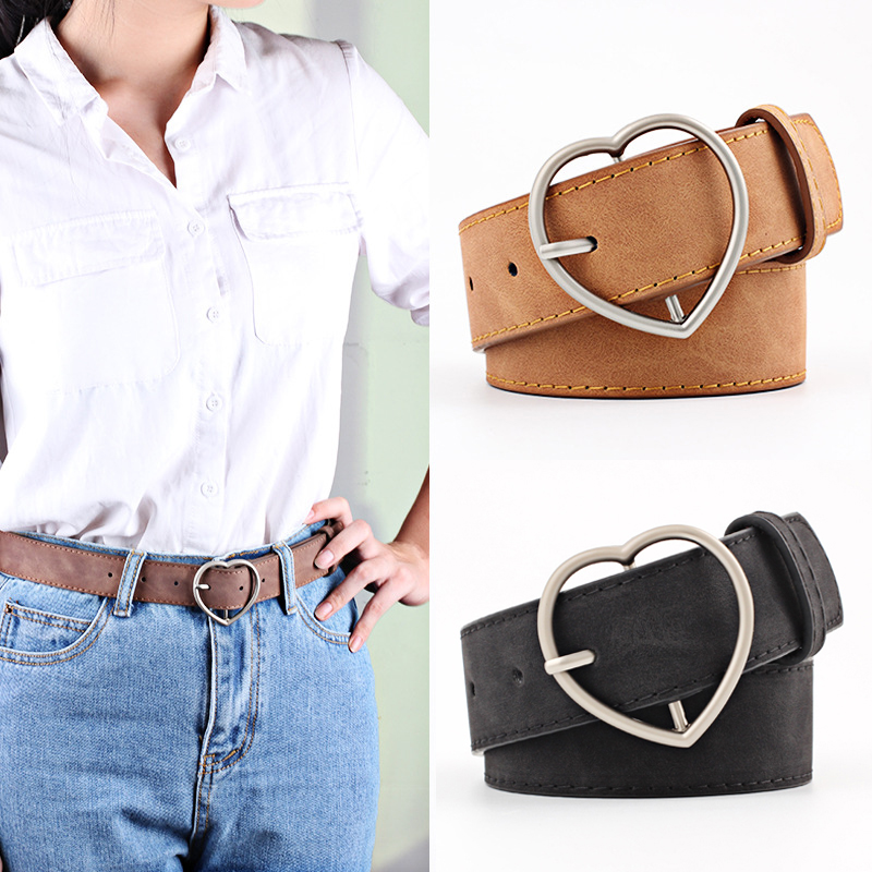 Women's Belt Wild Belt Alloy Heart Heart Buckle Women's Matte Leather Belt Student Belt