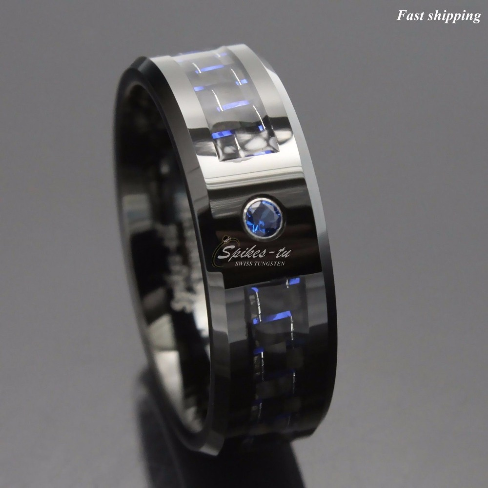 5x negro y azul fibra de carbono tungsteno anillo azul hombres joyería boda banda envío gratis-in Anillos from Joyería y accesorios    2