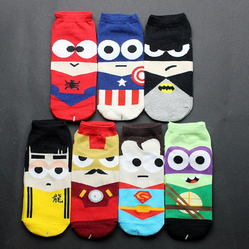 Super Hero   Socks   Superman Batman Captain Iron Man Bruce Lee Character Pattern Invisible Cotton Unisex Happy   Socks