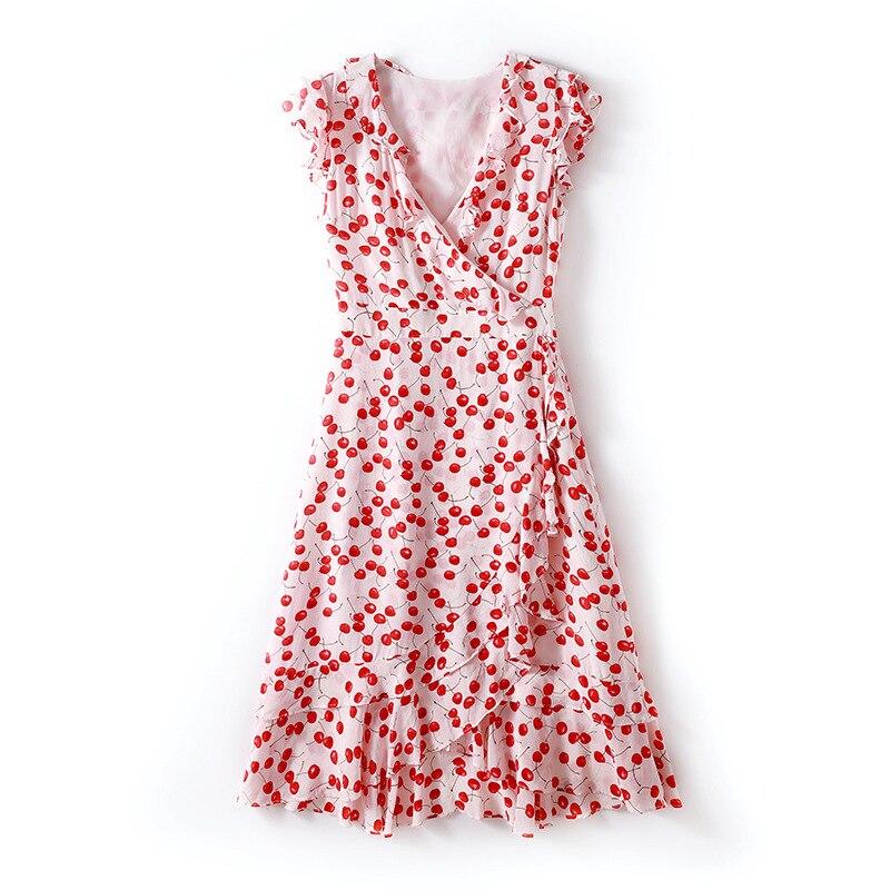 2019 primavera e l'estate delle donne di nuovo modo Con Scollo A V increspato vita che dimagrisce di seta stampato vestito da A Line-in Abiti da Abbigliamento da donna su  Gruppo 1