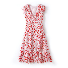 2019 spring and summer women's new fashion V-neck ruffled waist slimming silk printed A-line dress