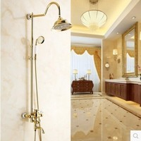 โกลเด้นห้องอาบน้ำฝักบัวตั้งยุโรปโบราณทองแดงอาบน้ำสูทร้อนและเย็นอุปกรณ์ห้องน้ำเซรามิกต...