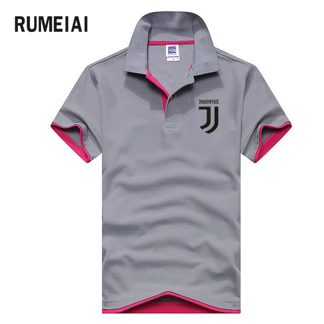 De alta Qualidade Da Marca Novos Homens Camisa Pólo de Manga Curta Homem  Moda Juventus impressão 3e380f024107f