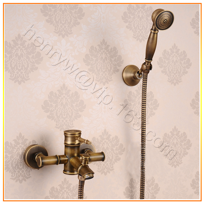 L15811 - Luxury Wall Mounted Bronze Color Brass Material Bath Shower MixerWith Hand Shower & Hose