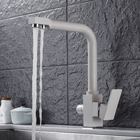 oatmeal color used three hot and cold brass kitchen faucet water purifier faucet Rotate the water sink faucet mixer