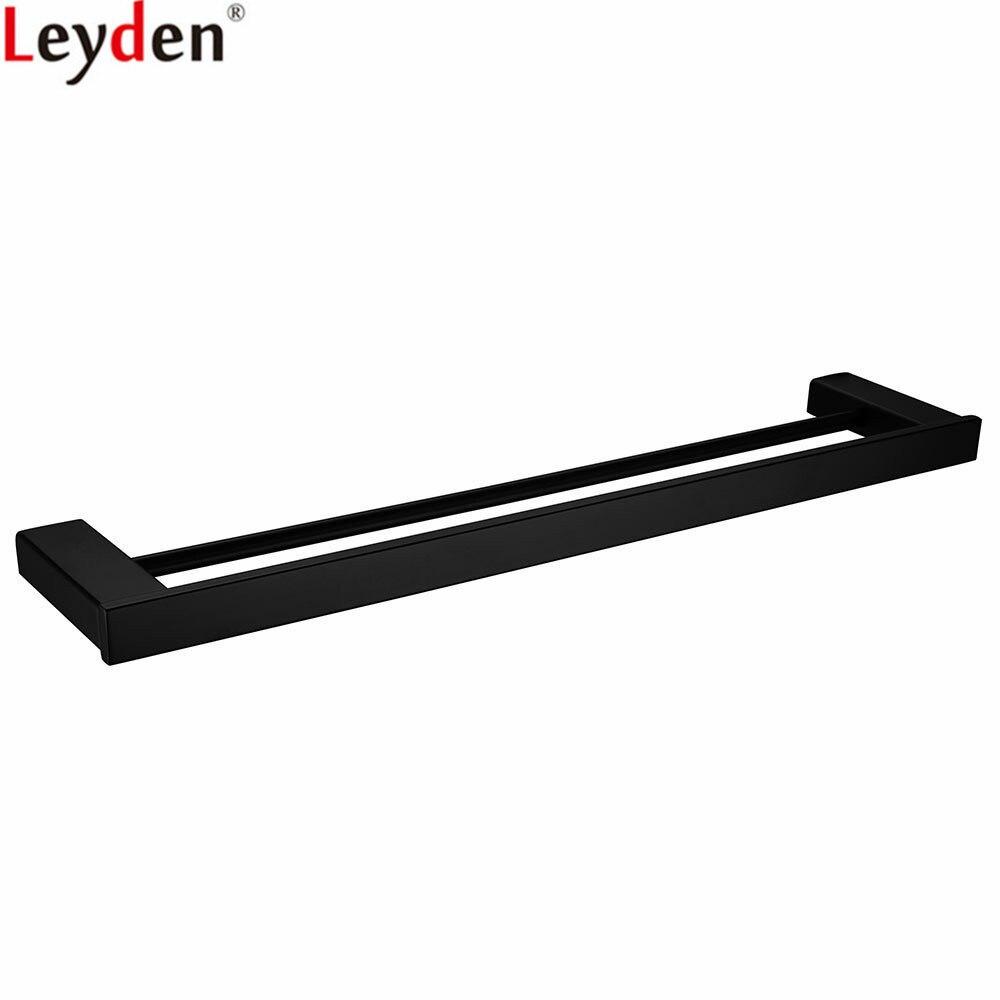 Leyden SUS 304 Double porte-serviettes en acier inoxydable noir carré porte-serviettes dans la salle de bain mat noir mural porte-serviettes