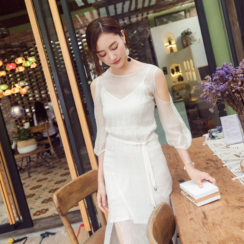 UNIQUEWHO White Romantic Silk Dress for Women Ladies Slim Elegant Midi Dress Low-key Luxury Party Dresses Spring Summer Autumn