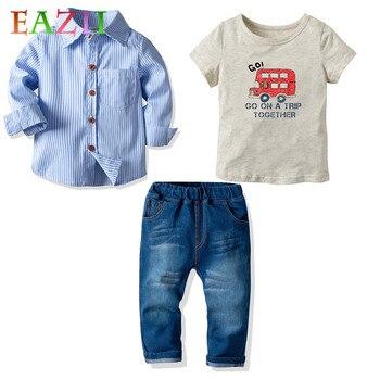 574b54376 EAZII primavera Bebé Ropa de niño conjuntos de ropa para niños T-shirt +  Pantalones + blusa conjuntos de ropa de dibujos animados impreso ropa  2-7Yrs trajes ...