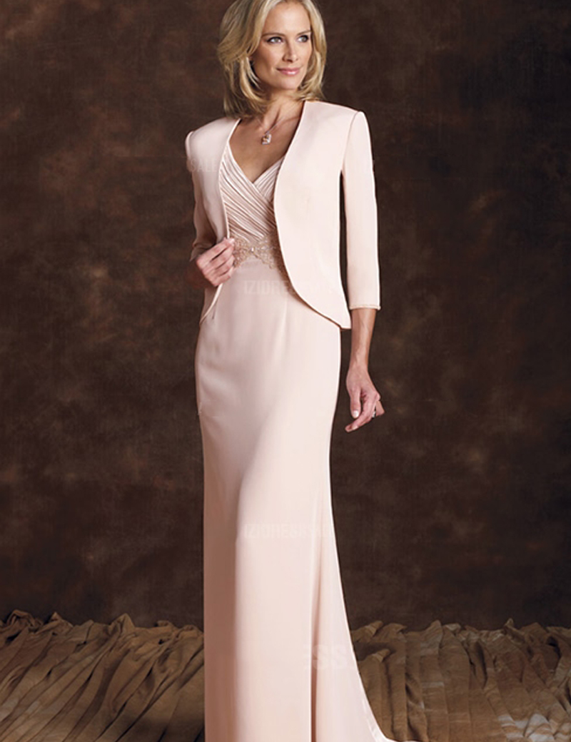 MBD011 2017 Graceful Blush Mother Of Bride Dresses With Satin Jacket Women Clothes Wedding Guest