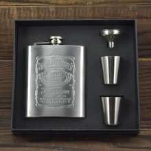 Thickening 7oz JD Stainless Steel Pocket Flask Russian Hip Flask Male Small Portable Mini Shot Bottles,Free Shipping 317