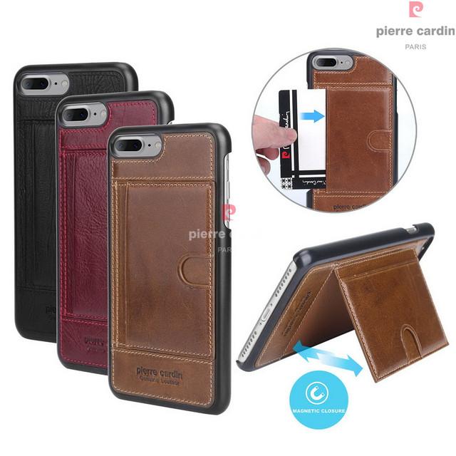 Pierre cardin couro genuíno case para iphone 7/iphone 7 plus