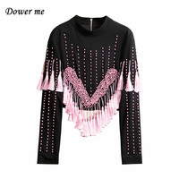 Popular Beading Tassel Women Black Tops Ladies Fashion Patchwork Shorts Slim As Outerwear For Girls YN066