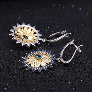 Image 4 - GEMS bale 2.2Ct doğal İsviçre mavi Topaz takı 925 ayar gümüş el yapımı ayçiçeği yüzük küpe takı kadınlar için setleri