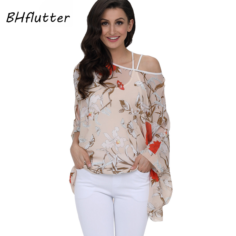 BHflutter Plus Size 2018 New Style   Blouse     Shirt   Women Casual Loose Summer   Blouses   Tops Floral Print Batwing Chiffon   Blouse   Blusa