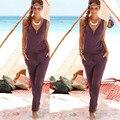 Элегантный Комбинезон Сексуальный v-ворота Слинг Боди Комбинезоны Комбинезоны Женщины 2016 новая Мода Sexy Сиамские Шорты Пляж комбинезон Летом