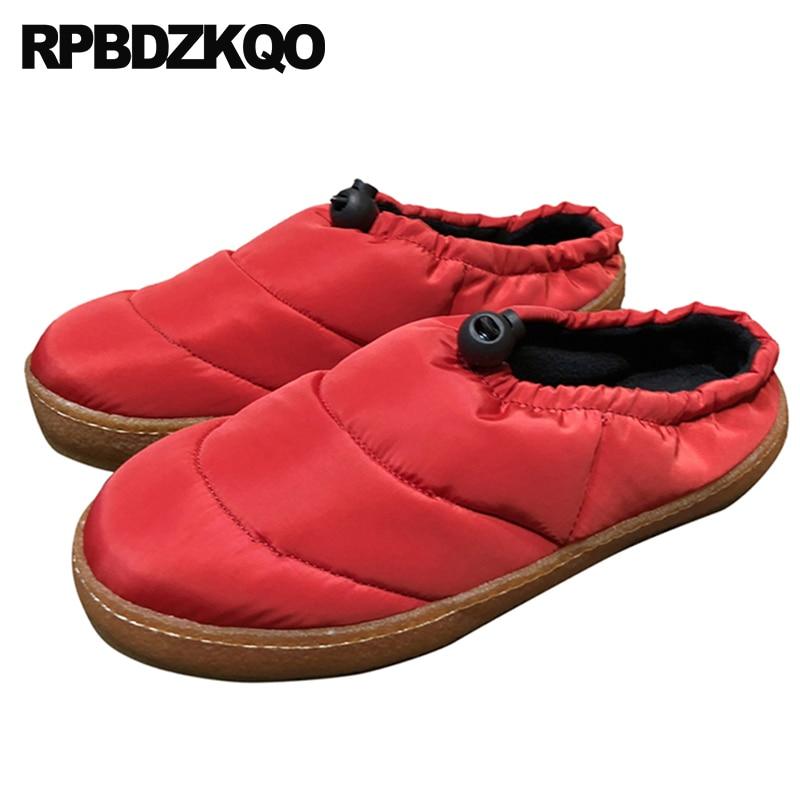 Designer De Fourrure Sur Noir Slip Casual Pantoufles Femmes Rouge Rond Chaussures rouge Semelle 2018 Chinois Noir Hiver Mules Chine Appartements Caoutchouc Bout En Dames SawzZXx