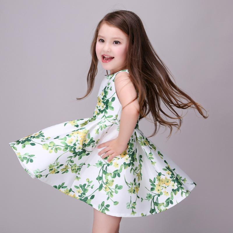 Girl Dress Party Summer Style Dresses Casual Sleeveless Red Flowers Embroidery Children Brand Kids Clothes