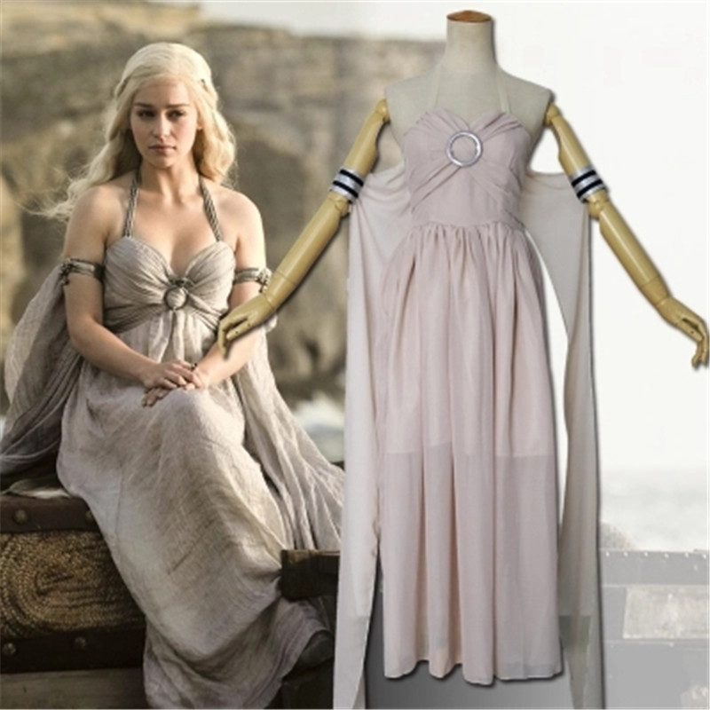 High quality Feminino Game Of Thrones Daenerys Targaryen Cosplay Costumes A Song of Ice and Fire dress halloween Factory price