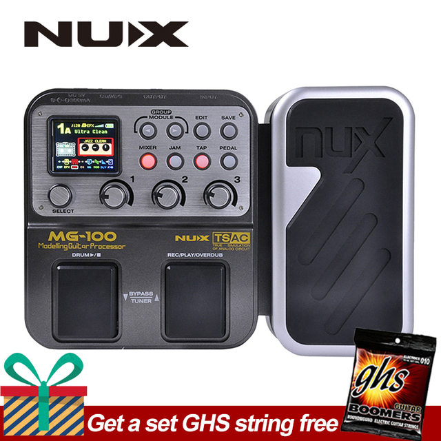 NUX MG100 Electric Guitar DSP Multi Effects Pedal 58 Effects 6-band graphic EQ Built-in drum machine 72 presets EFX