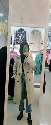 Spring And Autumn Women Fashion Brand Korea Style Waist Belt Loose Khaki Color Trench Female Casual Elegant Soft Long Coat Cloth 46