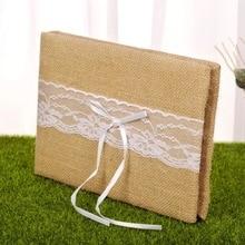 Libro de invitados de boda de arpillera personalizada flor perla Libro de Visitas cinta rústica Vintage boda invitado regalo firma libro