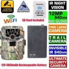 Blueskysea SG-880V Hunting Camera 1080P 12MP 940NM Night Vision Infrared IR Trail Scouting Camera+32GB Wifi Card+4800mAh Battery