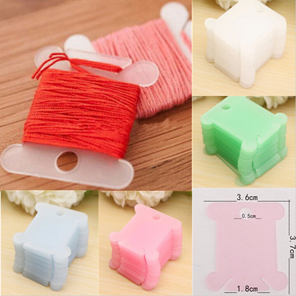 100pcs Plastic Embroidery Floss & Craft Thread Bobbins DIY Sewing Tools for Cross Stitch Sewing Supplies Storage Holder