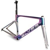 Elves Aerodynamics Bicycle Frame Light Sensitive Color Carbon Road Bike Frame Super Light Carbon Road Frame