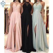 Ameision 2019 Vestidos De Fiesta Long A-line Evening Dresses Sexy Split Front Women Prom dresses Vestido Longo Festa