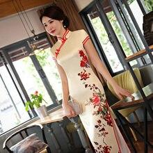 f78b6721162fe9 Heißer Verkauf Traditionellen Chinesischen Frauen Langes Kleid Sommer New  Silk Satin Qipao Reizvolle Dünne Gedruckt Cheongsam
