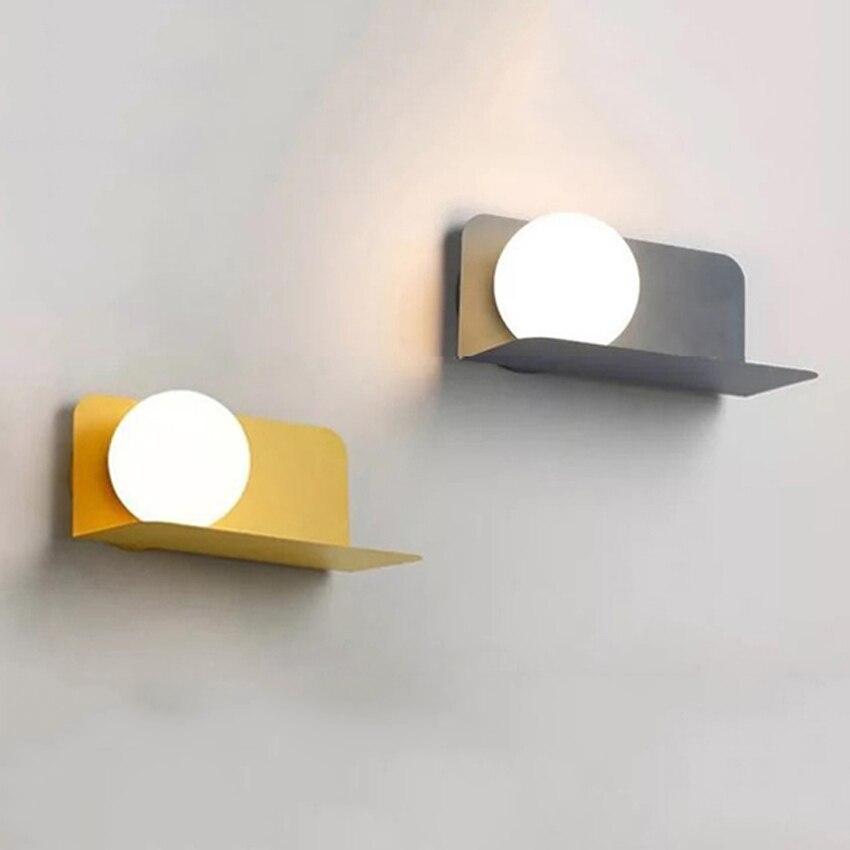 Nordic Luminária Criativa E27 Lâmpadas de Parede de Cabeceira Sala de estar Simples 4 Macarons Cor Ferro Levaram Luzes de Parede de Luz Da Escada - 2