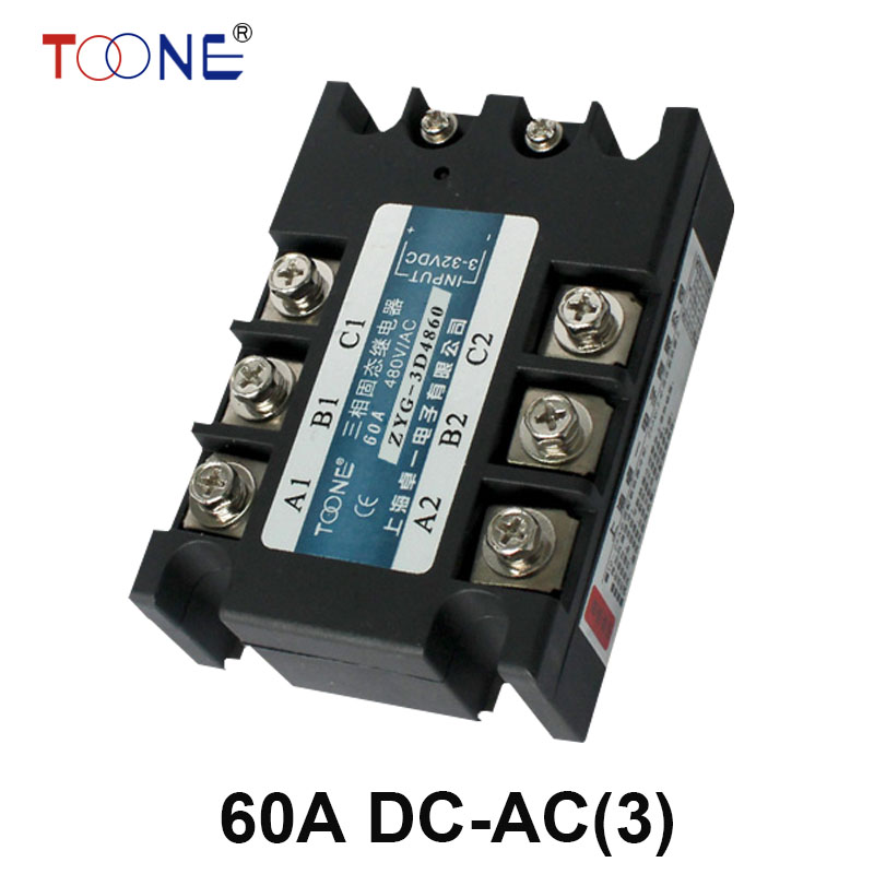 ZYG-3D4860 Free shipping 60A DC control AC SSR three phase Solid state relay normally open single phase solid state relay ssr mgr 1 d48120 120a control dc ac 24 480v