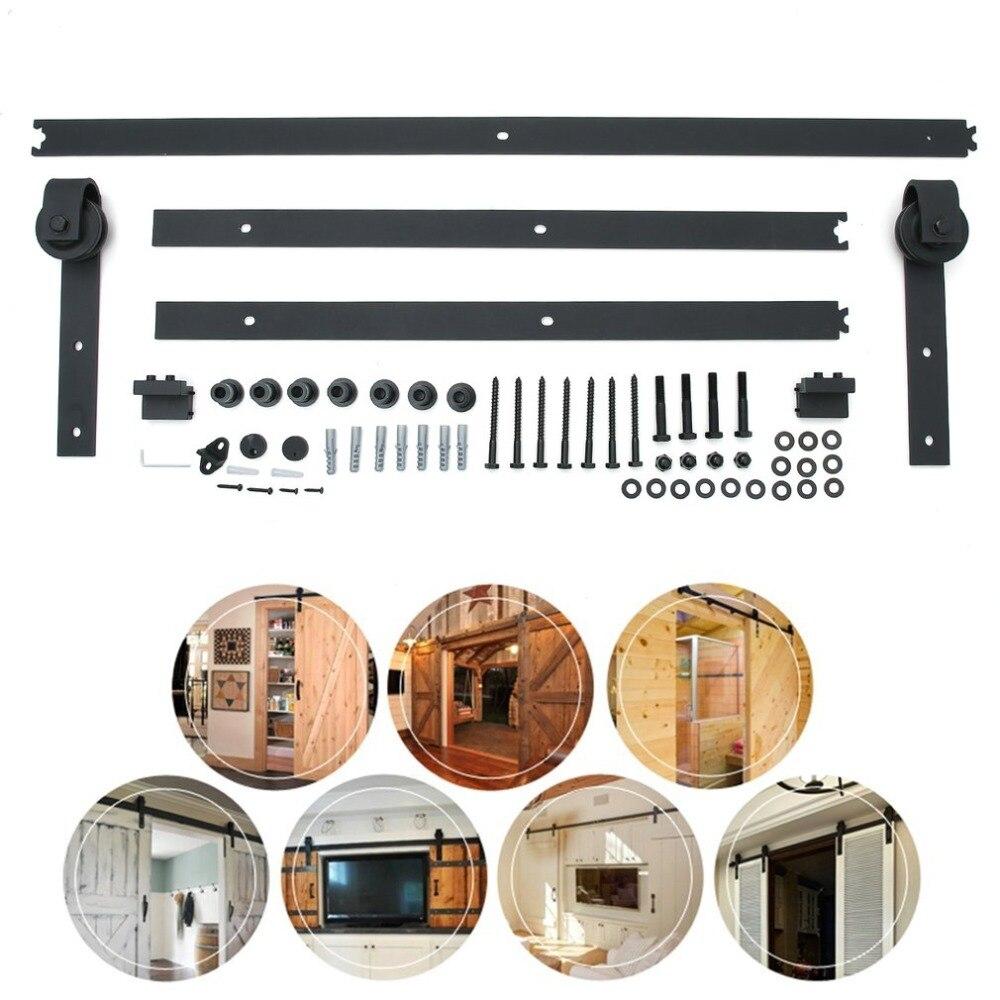 8FT/10FT I Shape Barn Door Sliding Track Kit Classic Wooden Door Sliding Space-Saving Door Hardware Universal Building Supplies цена и фото