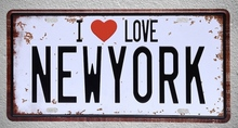 1 pc I love New York USA flag bar drink beer wine Tin Plates Signs wall man cave Decoration Metal Art Vintage Poster