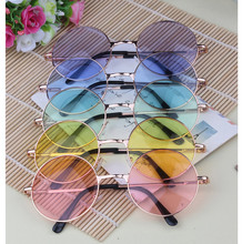 2017 circular colorful lenses fluorescent fashion personality round sunglasses with The spring legs MF073 (get 5 colors)