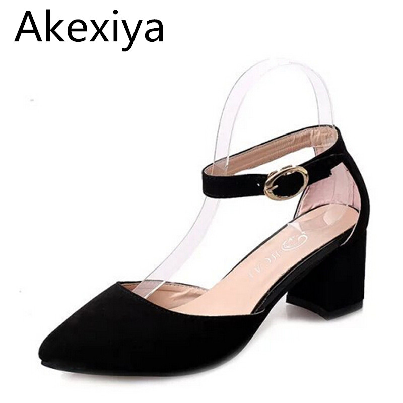 Akexiya Summer Style Pumps Flock Pointed Toe Mary Janes High Heels Casual Autumn Elegant Ladies Buckle Strap Shoes Woman WXG009 women pumps flock high heels shoes woman fashion 2017 summer leather casual shoes ladies pointed toe buckle strap high quality