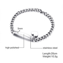 Trendy ID Heart Bracelet Bangle for Women Stainless Steel Metal Provide DIY Engrave Service