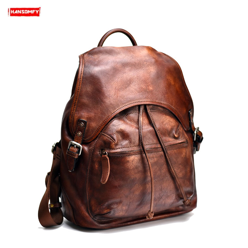 New mens backpack handmade vegetable tanned leather large shoulder bag first layer leather retro casual computer backpacksNew mens backpack handmade vegetable tanned leather large shoulder bag first layer leather retro casual computer backpacks