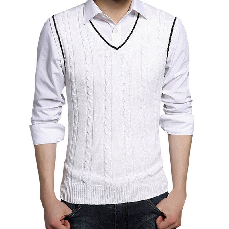 Vest Men 2018 Autumn Winter New Classic V-neck Sleeveless Sweater Men Cotton Knitwear Pu ...