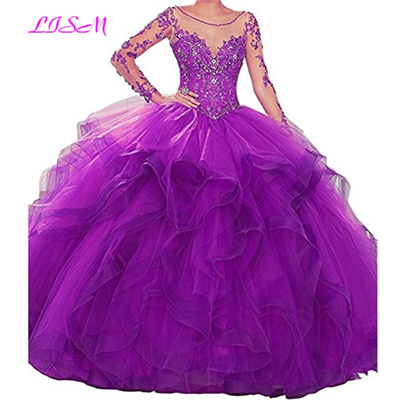 Sheer Scoop Long Sleeves Ball Gown Quinceanera Dresses 2019 Ruffled Lace Appliqued Beaded Prom Party Dresses