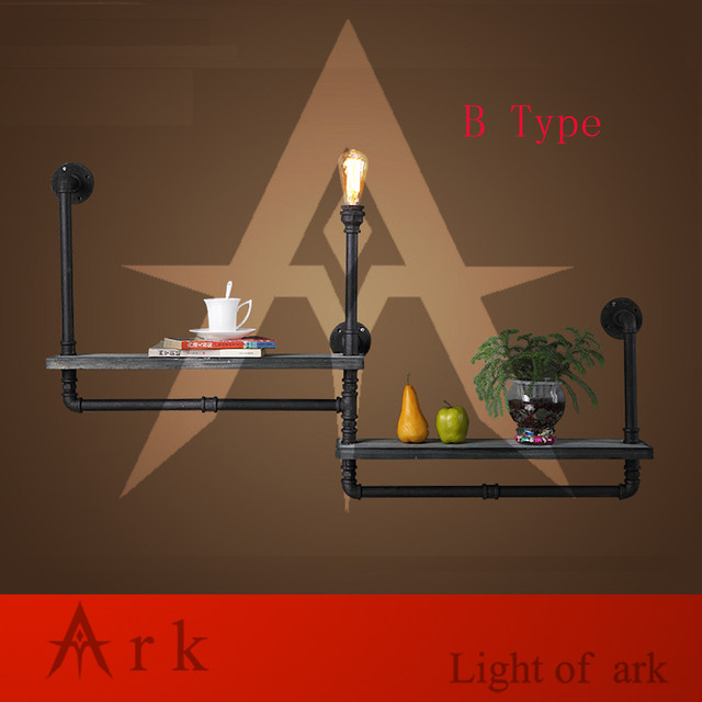 Ark Light Industry Loft RH Creative Retro Bookshelf Wall Lamps Water Pipe With Wood Shelf For Cafe Restaurant Decoration B TYPE