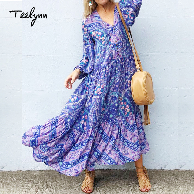 559b62532555 TEELYNN blue floral print dresses 2018 autumn rayon boho dress V-neck puff  long sleeve dress loose Hippie women dresses vestido
