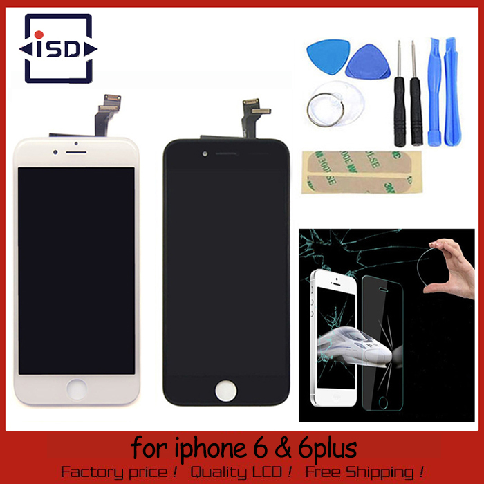LCD Display For Iphone 6 4.7inch/6 plus 5.5inch Touch Screen digitizer Assembly black color+Tools+Glass Film Free Shipping