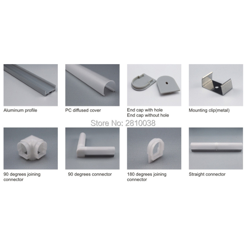 50 X 1M Sets/Lot round shape aluminium led profile and semicircle channel extrusion for ceiling or recessed wall light